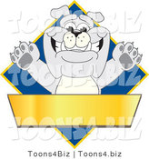 Vector Illustration of a Cartoon Bulldog Mascot over a Blue Diamond Above a Blank Gold Banner by Toons4Biz