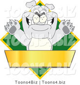 Vector Illustration of a Cartoon Bulldog Mascot over a Green Diamond Above a Blank Gold Banner by Toons4Biz