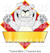 Vector Illustration of a Cartoon Bulldog Mascot over a Red Diamond Above a Blank Gold Banner by Toons4Biz