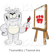 Vector Illustration of a Cartoon Bulldog Mascot Painting a Paw Print in Art Class by Toons4Biz
