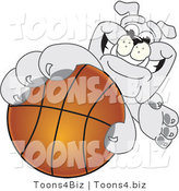 Vector Illustration of a Cartoon Bulldog Mascot Reaching up and Grabbing a Basketball by Toons4Biz