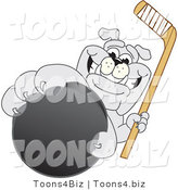 Vector Illustration of a Cartoon Bulldog Mascot Reaching up and Grabbing a Hockey Puck by Toons4Biz