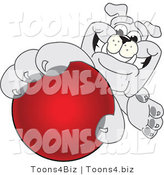Vector Illustration of a Cartoon Bulldog Mascot Reaching up and Grabbing a Red Ball by Toons4Biz