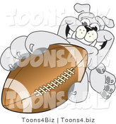 Vector Illustration of a Cartoon Bulldog Mascot Reaching up and Grabbing an American Football by Toons4Biz