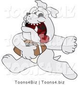 Vector Illustration of a Cartoon Bulldog Mascot Running with a Football by Toons4Biz