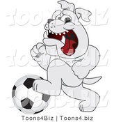 Vector Illustration of a Cartoon Bulldog Mascot Running with a Soccer Ball by Toons4Biz