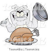 Vector Illustration of a Cartoon Bulldog Mascot Serving a Thanksgiving Turkey by Toons4Biz