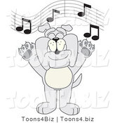 Vector Illustration of a Cartoon Bulldog Mascot Singing in Music Class by Toons4Biz