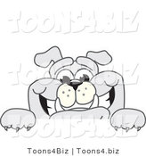 Vector Illustration of a Cartoon Bulldog Mascot Smiling over a Blank Sign by Toons4Biz