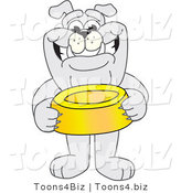 Vector Illustration of a Cartoon Bulldog Mascot Standing and Holding a Dish by Toons4Biz