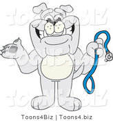 Vector Illustration of a Cartoon Bulldog Mascot Standing and Holding a Leash by Toons4Biz