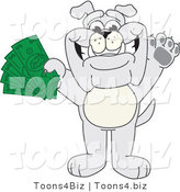 Vector Illustration of a Cartoon Bulldog Mascot Standing and Holding Cash by Toons4Biz