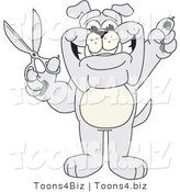 Vector Illustration of a Cartoon Bulldog Mascot Standing and Holding up Scissors by Toons4Biz