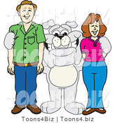 Vector Illustration of a Cartoon Bulldog Mascot Standing with Adults by Toons4Biz