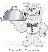 Vector Illustration of a Cartoon Bulldog Mascot Waiter Serving a Platter by Toons4Biz