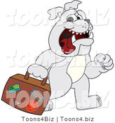 Vector Illustration of a Cartoon Bulldog Mascot Walking and Carrying a Suitcase by Toons4Biz