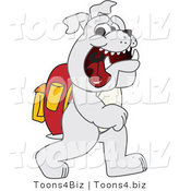 Vector Illustration of a Cartoon Bulldog Mascot Walking to School by Toons4Biz