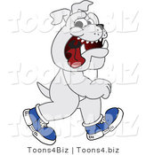 Vector Illustration of a Cartoon Bulldog Mascot Walking Upright and Wearing Shoes by Toons4Biz