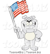 Vector Illustration of a Cartoon Bulldog Mascot Waving an American Flag by Toons4Biz