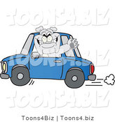 Vector Illustration of a Cartoon Bulldog Mascot Waving and Driving a Blue Car by Toons4Biz