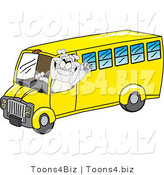 Vector Illustration of a Cartoon Bulldog Mascot Waving and Driving a School Bus by Toons4Biz