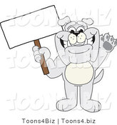 Vector Illustration of a Cartoon Bulldog Mascot Waving and Holding a Sign by Toons4Biz