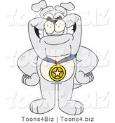 Vector Illustration of a Cartoon Bulldog Mascot Wearing a Medal by Toons4Biz