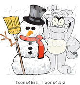 Vector Illustration of a Cartoon Bulldog Mascot with a Christmas Snowman by Toons4Biz