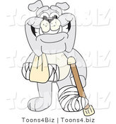 Vector Illustration of a Cartoon Bulldog Mascot with a Crutch, Sling and Cast by Toons4Biz