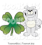 Vector Illustration of a Cartoon Bulldog Mascot with a Four Leaf Clover by Toons4Biz