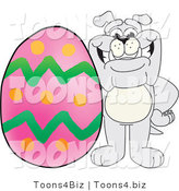 Vector Illustration of a Cartoon Bulldog Mascot with a Giant Easter Egg by Toons4Biz