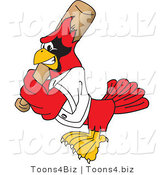 Vector Illustration of a Cartoon Cardinal Mascot Batting by Toons4Biz