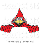 Vector Illustration of a Cartoon Cardinal Mascot Behind a Blank Sign by Toons4Biz