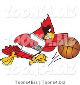 Vector Illustration of a Cartoon Cardinal Mascot Dribbling a Basketball by Toons4Biz