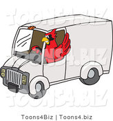 Vector Illustration of a Cartoon Cardinal Mascot Driving a Delivery Van by Toons4Biz