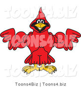 Vector Illustration of a Cartoon Cardinal Mascot Flexing by Toons4Biz