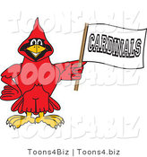 Vector Illustration of a Cartoon Cardinal Mascot Holding a Banner by Toons4Biz