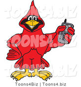 Vector Illustration of a Cartoon Cardinal Mascot Holding a Cell Phone by Toons4Biz