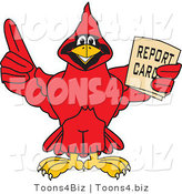 Vector Illustration of a Cartoon Cardinal Mascot Holding a Report Card by Toons4Biz