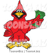 Vector Illustration of a Cartoon Cardinal Mascot Holding Cash by Toons4Biz