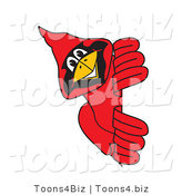 Vector Illustration of a Cartoon Cardinal Mascot Looking Around a Sign by Toons4Biz