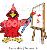 Vector Illustration of a Cartoon Cardinal Mascot Painting a Canvas by Toons4Biz