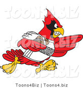 Vector Illustration of a Cartoon Cardinal Mascot Playing American Football by Toons4Biz
