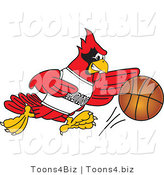 Vector Illustration of a Cartoon Cardinal Mascot Playing Basketball by Toons4Biz