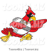 Vector Illustration of a Cartoon Cardinal Mascot Playing Football by Toons4Biz