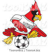 Vector Illustration of a Cartoon Cardinal Mascot Playing Soccer by Toons4Biz