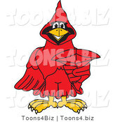 Vector Illustration of a Cartoon Cardinal Mascot Pointing Outwards by Toons4Biz