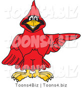 Vector Illustration of a Cartoon Cardinal Mascot Pointing Right by Toons4Biz