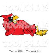 Vector Illustration of a Cartoon Cardinal Mascot Reclined by Toons4Biz