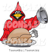 Vector Illustration of a Cartoon Cardinal Mascot Serving a Thanksgiving Turkey by Toons4Biz